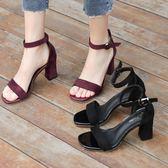 涼鞋女夏中跟粗跟黑色學生百搭露趾一字扣帶羅馬高跟鞋女糖果