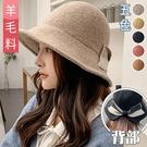 開衩拼色蝴蝶結漁夫帽(5色)【99419...