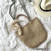 草編包休閒側背手提包編織蝴蝶結沙灘包