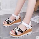 楔形鞋 高跟涼鞋女坡跟夏季學生時尚一字扣厚底坡鞋中跟網紅ins潮仙女風 韓國時尚 618