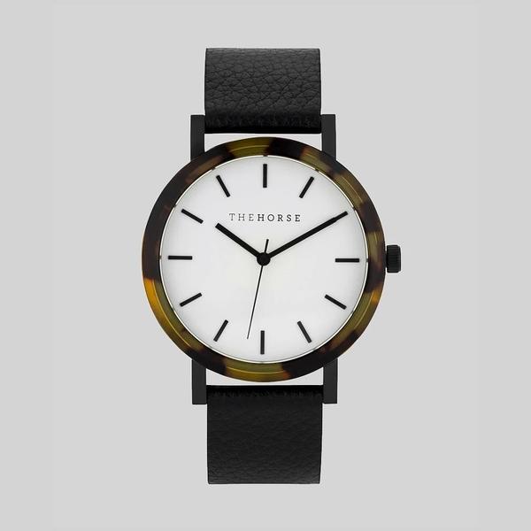 THE HORSE 玳瑁琥珀真皮革腕錶-荔枝黑42mm