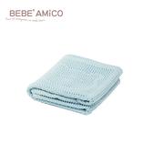 bebe Amico-鏤空編織透氣好眠毯(蘋果熊)-藍