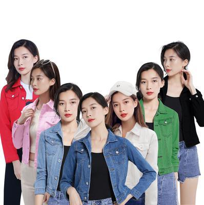 機車牛仔外套~主推牛仔外套女修身彩色上衣學生2020韓版糖果色夾克衫B8268MC046莎菲娜