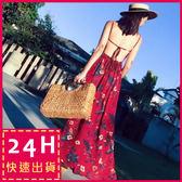 梨卡★現貨 - 波西米亞度假性感綁帶蝴蝶結開叉V領露背連身裙連身長裙沙灘裙C6214