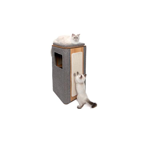 寵物家族-HAGEN 赫根Vesper 貓用實木精品家具 跳台-隔層高型積木屋