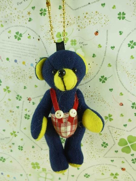 【震撼精品百貨】泰迪熊_Teddy Bear~絨毛鎖圈-藍黃(紅吊帶)
