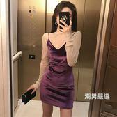 一件免運-洋裝時尚氣質絲絨性感細肩帶V領連身裙女夏季新品百搭修身吊帶裙