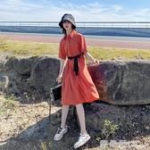 小清新洋裝女收腰顯瘦森系仙女裙子2020夏高腰垂感初戀風襯衫裙