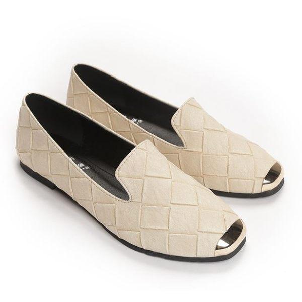 {丁果時尚}大尺碼女鞋35~43►2019春季新款金屬格紋編織方頭平底鞋懶人鞋休閒鞋