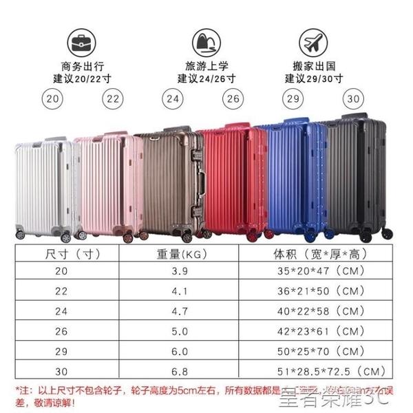 登機箱 全金屬鋁鎂合金拉桿箱萬向輪女行李箱20 26 29寸商務旅行箱硬YTL 現貨
