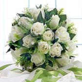 仿真花浪漫白玫瑰手捧花韓式新娘手捧花婚禮伴娘捧花婚慶  深藏blue