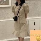 顯瘦裙子女裝夏季顯瘦氣質連衣裙短袖連身裙夏季女【小狮子】