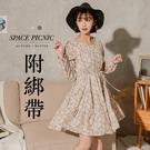 洋裝 Space Picnic|現+預.花朵蛋糕裙長袖洋裝-附綁繩【C20114043】