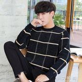 毛衣格子男士韓版圓領寬鬆個性帥氣慵懶風長袖男士針織衫 小艾時尚