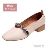 鞋子女2020春季新款百搭韓版學生豆豆鞋網紅中跟單鞋女淺口奶奶鞋『蜜桃時尚』