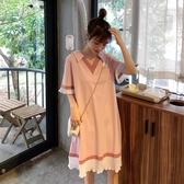 純棉孕婦裝洋裝上衣打底衫中長款T恤V領短袖夏裝寬鬆大碼孕婦裙 滿天星
