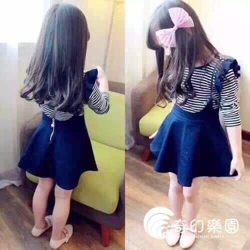 女童套裝兒童條紋長袖T恤 牛仔背帶裙子套裝