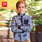 JJLKIDS 男童 時尚航海手繪風純棉襯衫(淺藍)