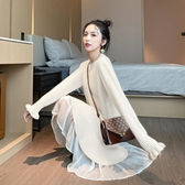 秋冬中長款拼接毛衣裙女寬鬆打底顯瘦裙子 秋冬新品 超值價