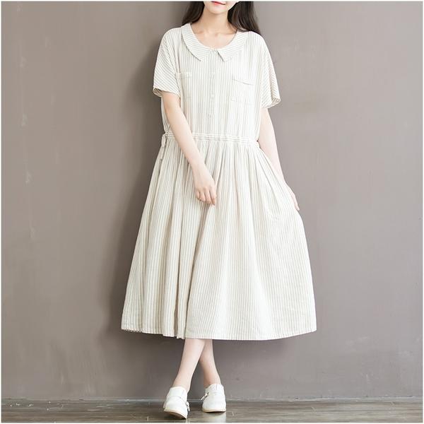 東京奈奈日系森林系條紋短袖收腰棉麻長洋裝[j76021]