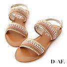 涼鞋 D+AF 波希女神.精緻亮片珠串一字涼鞋*棕