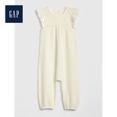 Gap女嬰兒柔軟荷葉邊針織一件式包屁衣489581-象牙白