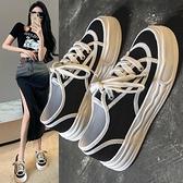帆布鞋女 厚底小白鞋女鞋子2021年新款休閒板鞋黑白拼色帆布鞋低筒夏季薄款【快速出貨】
