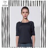 Chi sport性感露背短袖上衣小露肩性感透背短袖寬鬆休閒T桖黑色綠色粉色(CST18007)