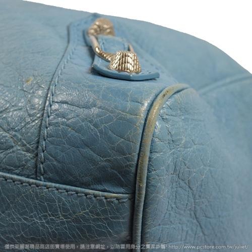 茱麗葉精品 二手精品 【8.5成新】 BALENCIAGA 巴黎世家 282010 Giant Velo 銀釦兩用機車包.藍