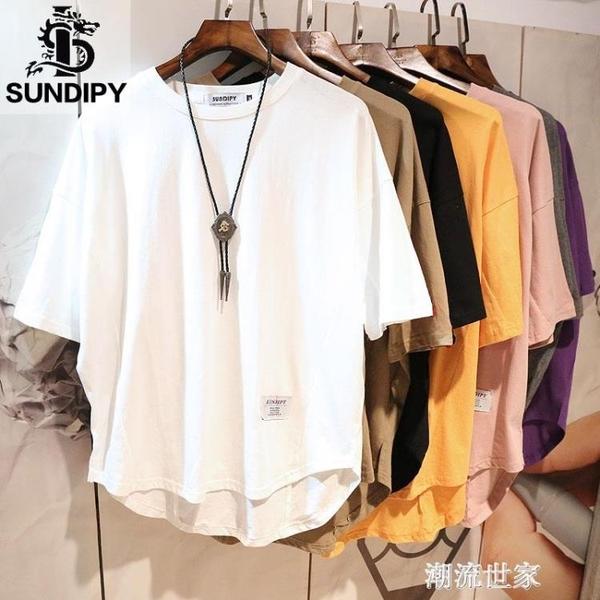 日系男士潮流潮半截袖五分短袖T恤ins港風寬鬆白色上衣服體桖衫『潮流世家』
