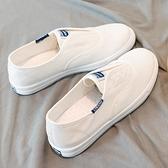 帆布鞋女 小白鞋子女2021年新款女鞋春夏款ins潮爆款百搭一腳蹬懶人帆布鞋【快速出貨】
