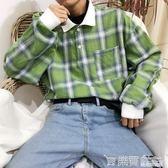 韓國復古嘻哈格子POLO紐扣翻領長袖T恤 18AW男女款