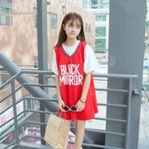 球衣夏季韓版寬鬆假兩件原宿BF運動短袖中長款閨蜜T恤籃球衣裙女學生