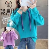 【YOUNGBABY中大碼】雙色垂繩袖LOGO連帽T.共2色(36-50)
