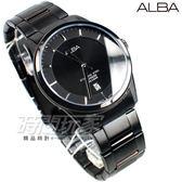 ALBA雅柏 都會風格 紳士男錶 日期顯示窗 防水錶 IP黑電鍍 AS9C91X1 VJ42-X211SD