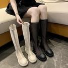 高筒涼靴女夏季透氣2021新款網紗長靴網紅鏤空馬丁長筒靴平底涼鞋