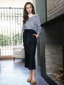 秋裝上市[H2O]整圈鬆緊帶顯瘦直筒彈性牛仔長裙 - 藍色 #8652001