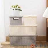 衣服儲物盒有蓋收納箱衣物整理箱塑料大號收納盒【淘夢屋】