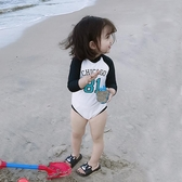 泳衣 兒童泳衣女孩連體長袖防曬女童可愛速干游泳衣小孩洋氣小寶寶泳裝 歐歐