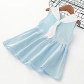 童裝女童白領巾時尚連身裙純棉裙子連身裙