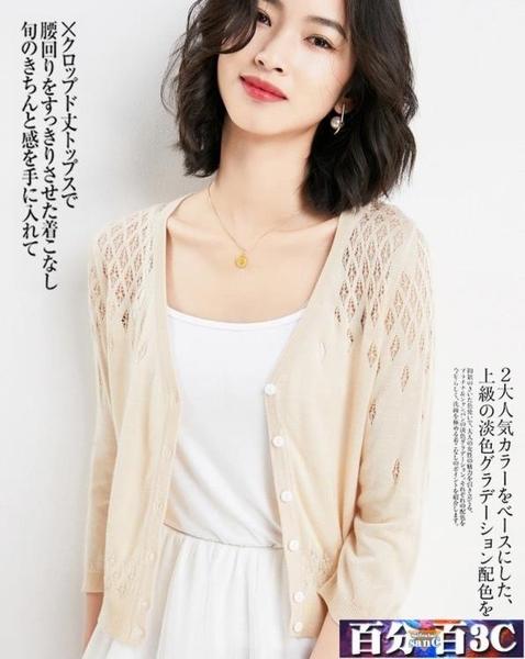 中大尺碼小披肩 2020新款夏季薄防曬冰絲針織開衫女鏤空外搭空調衫小外套 百分百
