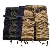短褲 七分-多口袋寬鬆休閒純色男工裝褲4色73ml36【巴黎精品】