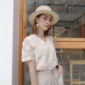 蕾絲衫 鉤花鏤空v領短袖蕾絲衫女夏裝新款寬鬆顯瘦開衫超仙閨蜜上衣 唯伊時尚