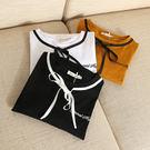 T恤【S70】FEELNET中大尺碼女裝夏裝韓版圓領繫帶荷葉袖純棉上衣 XL~3XL