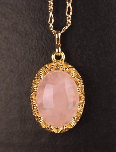 [協貿國際]天然粉水晶鑲嵌橢圓形吊墜鍍24K金鍊單條價