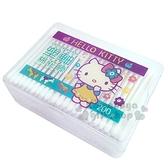 〔小禮堂〕Hello Kitty 盒裝雙頭棉花棒《紫綠.黃洋裝》200支入.棉棒 4715664-20312