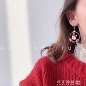 過年紅色喜慶年味耳環女2019秋冬新款潮網紅氣質個性耳釘耳夾耳飾