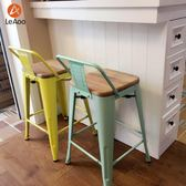 定制loft工業風高腳鐵藝酒吧椅鐵凳子簡約家用吧台椅帶靠背實木吧凳