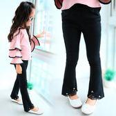 女童潮韓版黑色蕾絲邊小女孩時尚修身彈力時髦褲子LJ4448『miss洛羽』