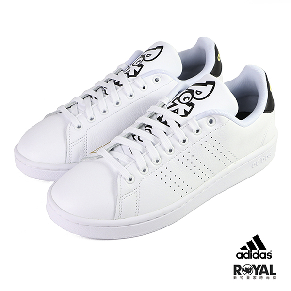 Adidas Advantage 白色 皮質 寶可夢聯名 網球運動鞋 男款NO.B1613【新竹皇家 FW6670】